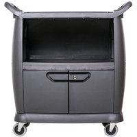 Carlisle CC2036DP03 3 Shelf Black Utility / Bus Cart with Doors and Panels - 300 lb. Capacity