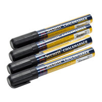 American Metalcraft SMA510V4BL Securit All-Purpose Small Tip Black Chalk Marker - 4/Pack