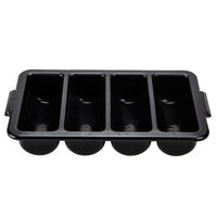 4-Compartment Black Cutlery Box