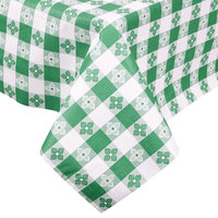 Green-Checkered Vinyl Table Cover with Flannel Back, 25 Yard Roll