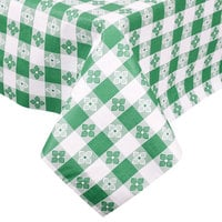 Intedge Green Checkered Gingham Vinyl Table Cover with Flannel Back, 25 Yard Roll