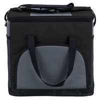 Choice 11 1/2 inch x 8 inch x 11 1/2 inch Black Soft-Sided 24 Can Insulated Cooler / Hot or Cold Sandwich Bag with Adjustable Shoulder Strap