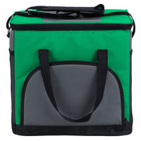 Choice 12 inch x 9 inch x 11 1/2 inch Green Soft-Sided 24 Can Insulated Cooler / Hot or Cold Sandwich Bag with Adjustable Shoulder Strap