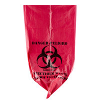10 Gallon 24 inch X 24 inch Red Isolation Infectious Waste Bag / Biohazard Bag High Density 12 Microns - 1000 / Case