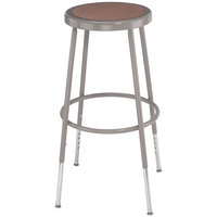National Public Seating 6224H 25 inch - 33 inch Gray Adjustable Hardboard Round Lab Stool
