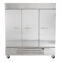 Beverage Air RB72HC-1S 75 inch Vista Series Three Section Solid Door Reach in Refrigerator - 72 Cu. Ft.