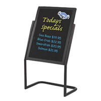 Aarco P-17BK Black 25 inch x 48 inch Double Pedestal Sign Stand with Markers