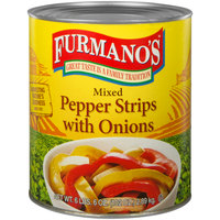 Furmano's #10 Can Mixed Pepper Strips with Onions - 6/Case