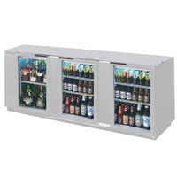 Beverage-Air BB94HC-1-G-S 94 inch Stainless Steel Glass Door Back Bar Refrigerator