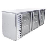 Beverage-Air BB94HC-1-G-S 94 inch Stainless Steel Glass Door Back Bar Refrigerator
