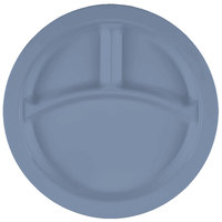 Cambro 93CW401 Camwear 3 Compartment 9 inch Slate Blue Polycarbonate Narrow Rim Plate - 48/Case