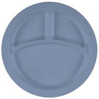 Cambro 93CW401 Camwear 3 Compartment 9 inch Slate Blue Polycarbonate Narrow Rim Plate - 48/Case