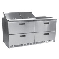 Delfield D4460N-12 60 inch 4 Drawer Refrigerated Sandwich Prep Table