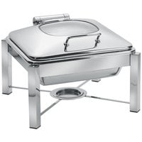 Eastern Tabletop 3944G/S 6 Qt. Square Stainless Steel Chafer with Stand and Hinged Glass Dome Cover