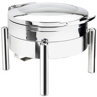 Eastern Tabletop 3978GS Jazz Swing 6 Qt. Stainless Steel Round Induction / Traditional Chafer with Pillar'd Stand and Hinged Glass Dome Cover