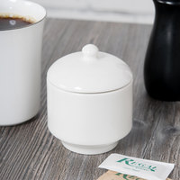 Homer Laughlin 6636000 Pristine Bright White China Sugar Packet Holder with Lid - 12/Case