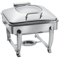 Eastern Tabletop 3914G/S 6 Qt. Stainless Steel Square Induction / Traditional Chafer with Stand and Hinged Glass Dome Cover