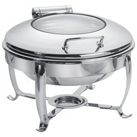 Eastern Tabletop 3918G/S 6 Qt. Stainless Steel Round Induction / Traditional Chafer with Stand and Hinged Glass Dome Cover