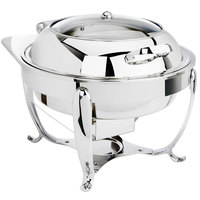 Eastern Tabletop 3918GS 6 Qt. Stainless Steel Round Induction Chafer with Stand and Hinged Glass Dome Cover