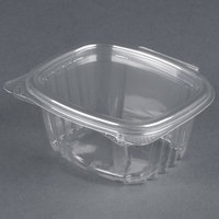 Genpak AD06 4 1/4 inch x 3 5/8 inch x 1 7/8 inch 6 oz. Clear Hinged Deli Container - 100 / Pack