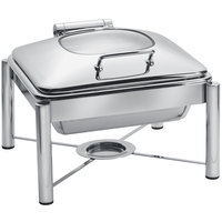 Eastern Tabletop 3954G/S 6 Qt. Square Stainless Steel Chafer with Stand and Hinged Glass Dome Cover