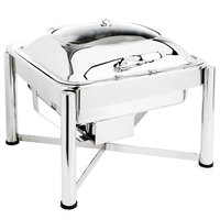 Eastern Tabletop 3954GS 6 Qt. Square Stainless Steel Chafer with Stand and Hinged Glass Dome Cover