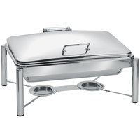 Eastern Tabletop 3955/S 8 Qt. Rectangular Stainless Steel Chafer with Stand and Hinged Dome Cover