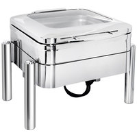 Eastern Tabletop 3974GS Jazz Swing 6 Qt. Stainless Steel Square Induction / Traditional Chafer with Pillar'd Stand and Hinged Glass Dome Cover