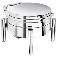Eastern Tabletop 3978S 4 qt. Round Stainless Steel Chafer with Stand and Hinged Lid