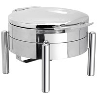 Eastern Tabletop 3978S Jazz Swing 6 Qt. Stainless Steel Round Induction / Traditional Chafer with Pillar'd Stand and Hinged Dome Cover
