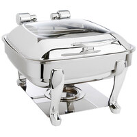 Eastern Tabletop 3904GS 6 Qt. Stainless Steel Square Induction Chafer with Stand and Hinged Glass Dome Cover