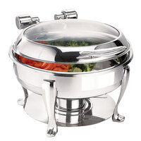 Eastern Tabletop 3908GS 6 Qt. Stainless Steel Round Induction Chafer with Stand and Hinged Glass Dome Cover