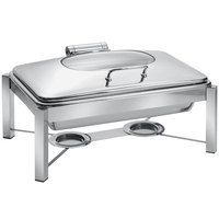 Eastern Tabletop 3945G/S 8 Qt. Rectangular Stainless Steel Chafer with Stand and Hinged Glass Dome Cover