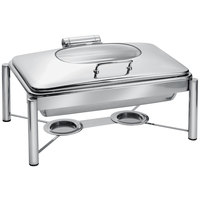 Eastern Tabletop 3955G/S 8 Qt. Rectangular Stainless Steel Chafer with Stand and Hinged Glass Dome Cover