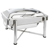 Eastern Tabletop 3955GS 8 Qt. Rectangular Stainless Steel Chafer with Stand and Hinged Glass Dome Cover