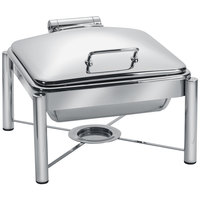 Eastern Tabletop 3954/S 6 Qt. Square Stainless Steel Chafer with Stand and Hinged Dome Cover