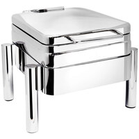 Eastern Tabletop 3974S 4 qt. Square Stainless Steel Hotel Grade Chafer with Stand and Hinged Lid