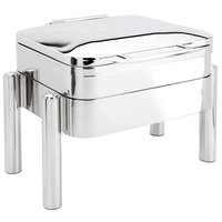 Eastern Tabletop 3974S Jazz Swing 6 Qt. Stainless Steel Square Induction / Traditional Chafer with Pillar'd Stand and Hinged Dome Cover