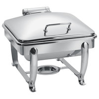 Eastern Tabletop 3914S 6 Qt. Stainless Steel Square Induction / Traditional Chafer with Stand and Hinged Dome Cover