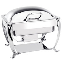 Eastern Tabletop 3914S 6 Qt. Stainless Steel Square Induction Chafer with Stand and Hinged Dome Cover