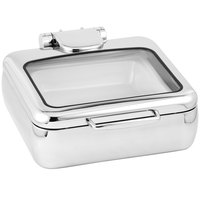 Eastern Tabletop 3994G Jazz Rock 6 Qt. Stainless Steel Square Induction Chafer with Hinged Glass Dome Cover