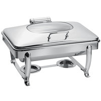 Eastern Tabletop 3915GS 8 Qt. Stainless Steel Rectangular Induction / Traditional Chafer with Stand and Hinged Glass Dome Cover