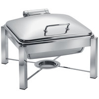 Eastern Tabletop 3944/S 6 Qt. Square Stainless Steel Chafer with Stand and Hinged Dome Cover