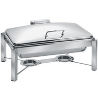 Eastern Tabletop 3945/S 8 Qt. Rectangular Stainless Steel Chafer with Stand and Hinged Dome Cover