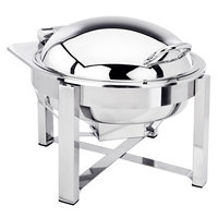 Eastern Tabletop 3948S 6 Qt. Round Stainless Steel Chafer with Stand and Hinged Dome Cover