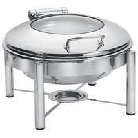 Eastern Tabletop 3958G/S 6 Qt. Round Stainless Steel Chafer with Stand and Hinged Glass Dome Cover