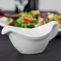 Tuxton BWZ-0259 2.5 oz. White China Gravy Boat - 12/Case