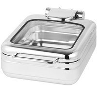 Eastern Tabletop 3997G Jazz Rock 4 Qt. Stainless Steel Square Induction Chafer with Hinged Glass Dome Cover