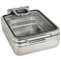 Eastern Tabletop 3987G Jazz Rock 4 Qt. Stainless Steel Square Induction Chafer with Hinged Glass Dome Cover