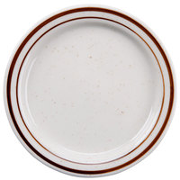 5 1/2 inch Brown Speckle Narrow Rim China Plate - 12/Case